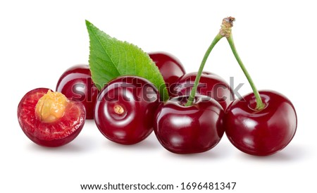 Cherry isolated. Sour cherry. Cherries with leaves on white. Sour cherries on white. Cut cherry. #1696481347