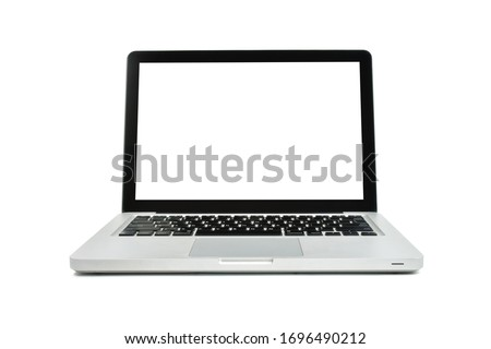 A Laptop modern style with empty blank white screen isolated on scene white background. Copy space. Close up of Item object is the success to the business view. Clipping path.
