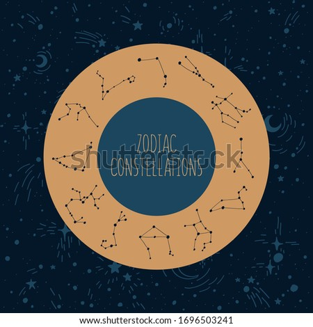 Zodiac constellations in the circle on the night sky background #1696503241