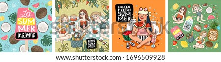 Hello fresh summertime! Set posters of group women friends relax, girl with cats on picnic, watermelon, pineapple, coconut, ice cream isolated objects set. Vector illustration banner, card, postcard #1696509928