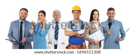 Collage with people of different professions on white background. Banner design  Royalty-Free Stock Photo #1696511308