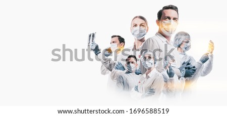team of doctors men and women fighting diseases and viruses Royalty-Free Stock Photo #1696588519