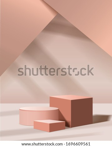 minimal scene with geometrical forms. cylinder and cube podiums in cream background with sun light. Scene to show cosmetic product, Showcase, shopfront, display case. 3d vector illustration. Royalty-Free Stock Photo #1696609561