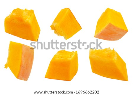 Pumpkin slices isolated on a white background, top view. Sliced pumpkin isolated on white. Pieces of pumpkin, top view. Diced pumpkin, closeup. #1696662202
