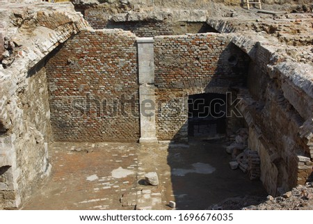 Foundations and  walls of a broken house #1696676035