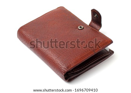 Leather wallet for man, close-up, white background, isolate, Royalty-Free Stock Photo #1696709410