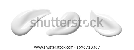 White cosmetic cream texture. Set of  lotion swatches isolated on white background. Beauty skin care product smear smudge drop. BB CC cream swipe sample #1696718389