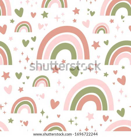 Seamless pattern with cute rainbows, stars and hearts. #1696722244