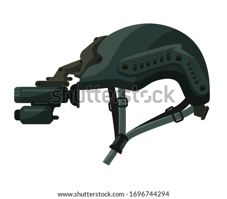 Military helmet with night vision goggles device and camera isolated on white background. Professional equipment for strikeball. Warrior camouflage, soldier ammunition. Vector illustration