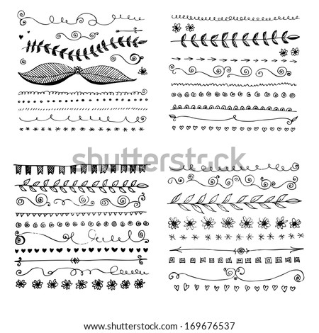 drawn hand line border frame flower vector element doodle sketch hand drawn vector straight border set and design component drawn hand line border frame flower vector element doodle sketch white veget Royalty-Free Stock Photo #169676537