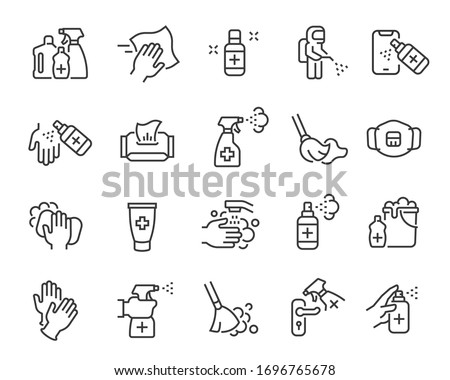 Disinfection and cleaning icon set. Collection of linear simple web icons such as hygiene, disinfection, cleaning, washing and other. Editable vector stroke. #1696765678