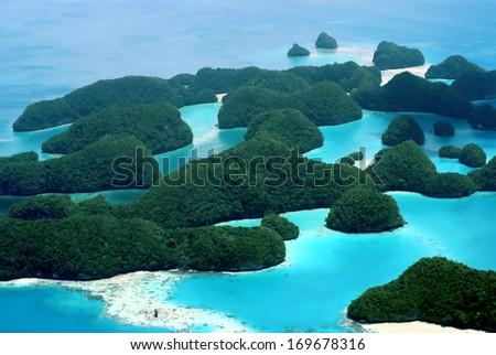 Aerial view of Palau's Seventy Islands #169678316