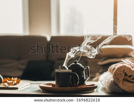 the concept of enjoying coffee at home, spending time at home #1696822618