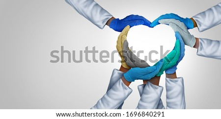 Medical teamwork and doctors unity and global health care partnership as doctor hands in a group of diverse medics connected together shaped as a heart symbol in a 3D illustration style. #1696840291