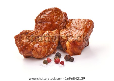 Stew Meat, stewed pork goulash, isolated on white background. #1696842139