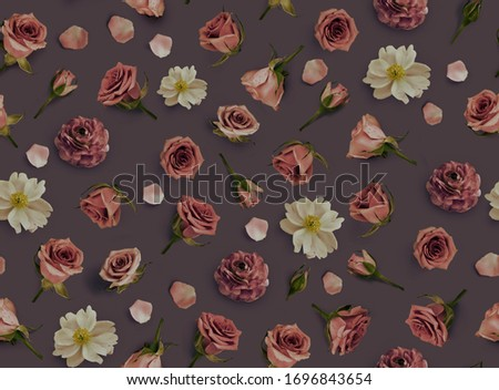 Vintage Floral pattern made of beige flowers and rosebuds. Flat lay, top view. Valentines background. Dark background. Seamless pattern of flowers. Flowers pattern texture. Happy Mothers Day. #1696843654