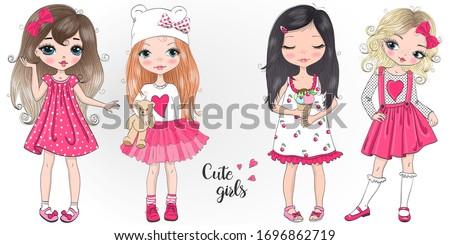 Four hand drawn beautiful cute little girls. Vector illustration. #1696862719