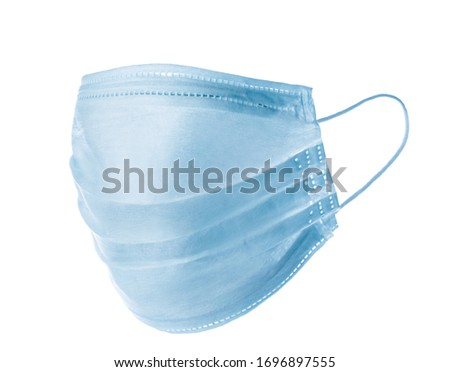 Blue medical face masks isolated on white. Close up #1696897555