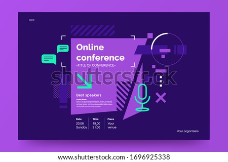 Invitation banner to the online conference. Business webinar invitation design. Announcement poster concept in flat style. Modern technology background with place for text. Vector eps 10. Royalty-Free Stock Photo #1696925338
