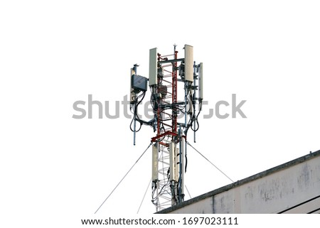Telecommunication tower of 4G and 5G cellular. Base Station or Base Transceiver Station. Wireless Communication Antenna Transmitter. Telecommunication tower with antennas isolated on white background. Royalty-Free Stock Photo #1697023111