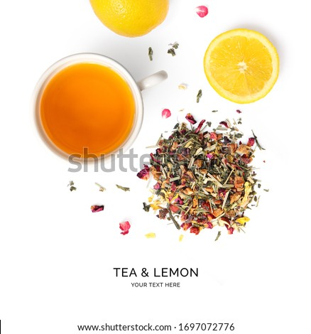 Creative layout made of herbal tea and lemon on the white background. Flat lay. Macro  concept. #1697072776