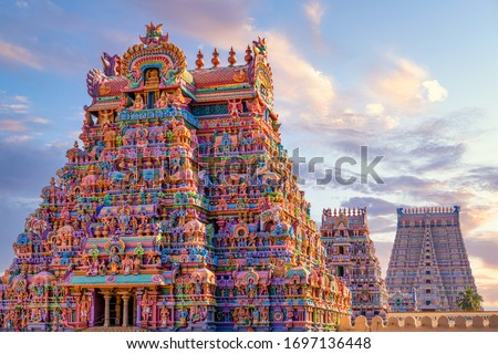 Colourful Temple Gopurams in Srirangam, Trichy town of tamilnadu in india Royalty-Free Stock Photo #1697136448