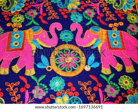 Pipli Applique two dancing elephants traditional folk art work handmade design on cloth Orissa India