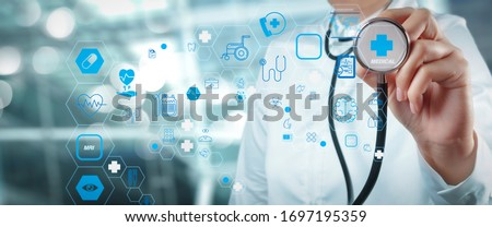 Health care and medical technology services Diagnose checking virus testing result with VR screen in laboratory, Inhibition of disease outbreaks.