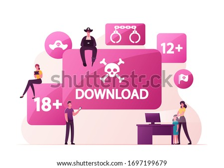 Illegal Content Free Download Concept. Pirate Character Sitting on Sign with Jolly Roger Transfer and Sharing Files Using Torrent Servers Services, Online Media. Cartoon People Vector Illustration