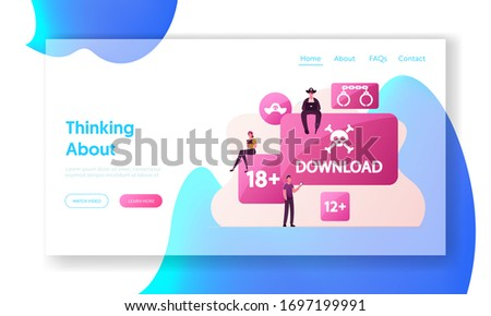 Illegal Pirate Content Free Download Landing Page Template. Characters at Huge Pc Buttons with Jolly Roger Transfer and Sharing Files Using Torrent Servers Services. Cartoon People Vector Illustration