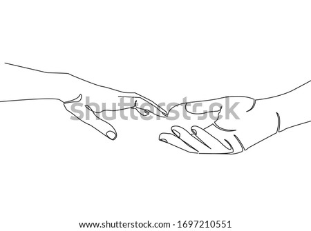 Continuous Line Drawing of Hands Trendy Minimalist Illustration. One Line Abstract Concept. Minimalist Contour Hands Banner. Vector EPS 10.
