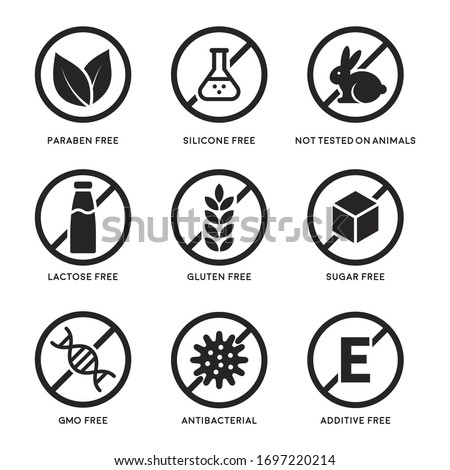 Set of icons Gluten Free, Lactose Free, GMO Free, Paraben, Food additive, Sugar free, Not Tested on Animals, Antibacterial, Silicone vector icons Royalty-Free Stock Photo #1697220214