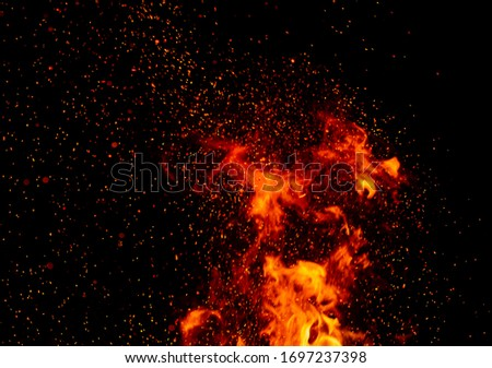 sparks of fire on a black background.  flame of fire with sparks. Burning red hot sparks fly from large fire in the night sky. Beautiful abstract background on the theme of fire, light and life.  #1697237398