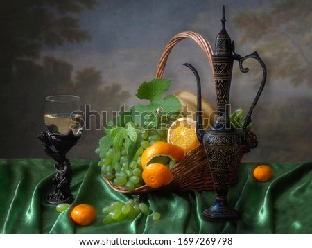 Still life with oriental jug and fruits