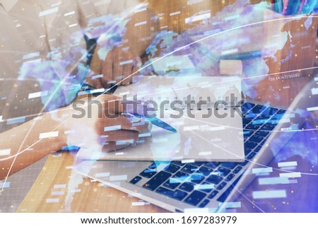 Multi exposure of woman's hands on background with technology and digital coding icons. Data development concept. #1697283979