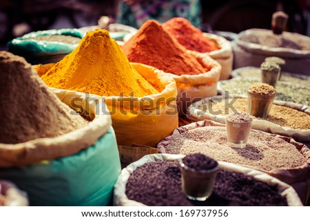 Indian colored spices at local market. #169737956