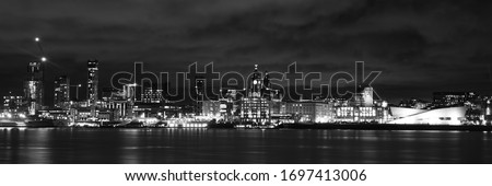 LIverpool Waterfront in Black and White Royalty-Free Stock Photo #1697413006