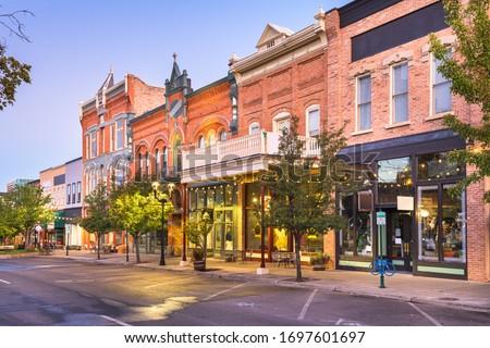 Provo, Utah, USA downtown on Center Street at dusk. Royalty-Free Stock Photo #1697601697