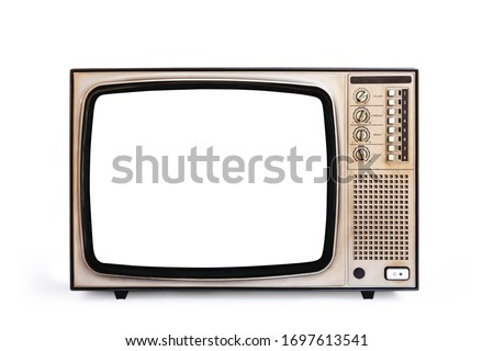 Retro old television cut out white screen isolated on white background, clipping path Royalty-Free Stock Photo #1697613541