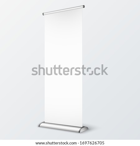 Bank Roll up on White Background. Template Mock up for advertising. 3d Perspective illustration #1697626705