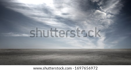 Dark Floor Background with Dramatic Sky and Scenic Clouds Panoramic Horizon Scene #1697656972