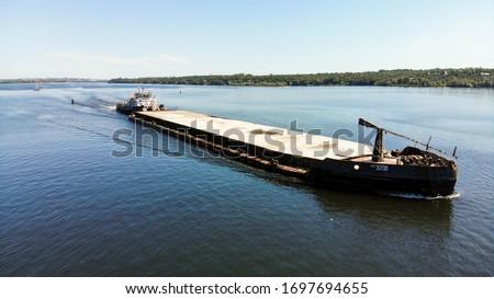 Aerial View Industrial - Cargo shipping / River cargo ship / Barge with cargo on the river / ship, shipping, river, barge, ship / Судоходство и речной флот #1697694655