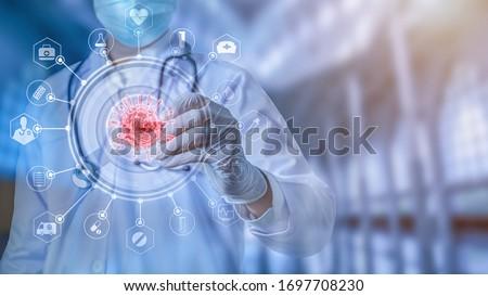 Futuristic innovative corona covid-19 virus doctor wear mask virtual digital ai infographic data tech. Coronavirus 2019-nCov treatment analysis screen in hospital laboratory against epidemic virus #1697708230