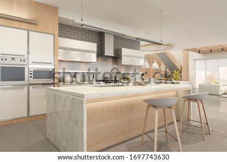 Modern house interior kitchen with living room design. 3D Render #1697743630