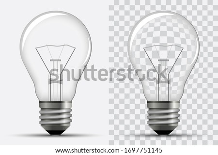 Realistic light bulb. Electricity. Vector illustration isolated on a white and transparent background. Royalty-Free Stock Photo #1697751145