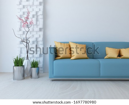 White minimalist living room interior with blue sofa on a wooden floor, decor on a large wall, white landscape in window. Home nordic interior. 3D illustration #1697780980