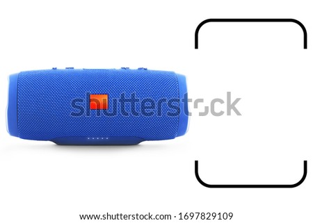 Portable Wireless Bluetooth Speaker Isolated on White. Front View of Blue Powerful Stereo Sound System with Splashproof Fabric Design. Noise and Echo Cancelling Speakerphone. Cell Phone Accessories #1697829109