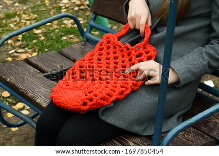 Wicker bag, mesh. Handmade work. Crocheted #1697850454