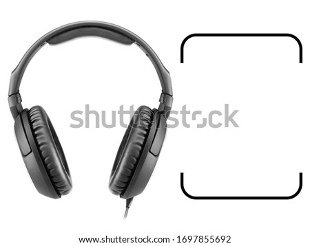 Headphones  Isolated on White Background. Front View Black Weird Stereo Headset With Inline Mic Integrated Microphone and Audio Cable. Advanced Acoustic Stereo Sound System Powerful Neodymium Magnets #1697855692