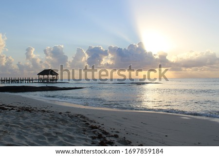 Beautiful sunrise on a secluded beach in Playa del Carmen, Mexico #1697859184
